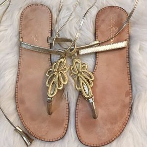 Lilly Pulitzer Gold gladiator sandals 7.5M Narrow!